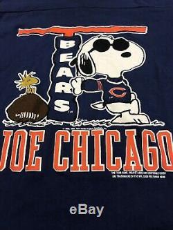 VTG Snoopy Joe Cool Chicago Bears T-Shirt Schulz 1958 L Peanuts Charlie Brown