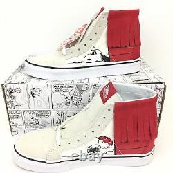 Vans PEANUTS Snoopy Dog House Bone Charlie Brown Sk8 Hi Moc Red Suede Shoes