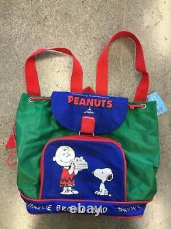 Vintage 1958 PEANUTS Charlie Brown And Snoopy Color Block Backpack Rare Vtg 50s