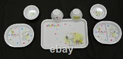Vintage 1965 PEANUTS SNOOPY 7 pc Lunch set of Trays Bowls Saucers Charlie Brown