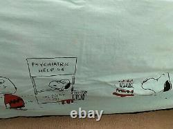 Vintage 1966 CHARLIE BROWN Snoopy Peanuts BEDSPREAD, Rare Aqua & Full Queen Size