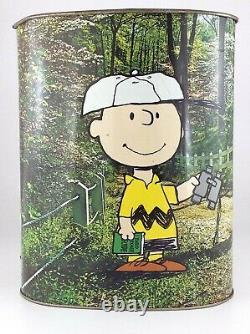 Vintage 1978 Chienco Peanuts Charlie Brown Snoopy Woodstock Metal Trash Can T906