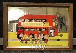Vintage Peanuts Gang Mirror London Bus 1966 RARE Charlie Brown Snoopy