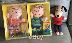 Vintage Peanuts LOT 3 Linus Charlie Brown Snoopy Rag Doll IDEAL 2 original boxes