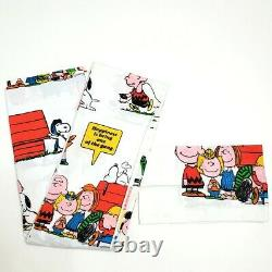 Vintage Peanuts Snoopy Twin Flat Sheet Pillowcase United Feature Syndicate