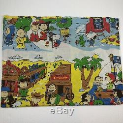Vintage Peanuts Twin Flat Sheet Snoopy Goes West Charlie Brown Cowboy Fabric
