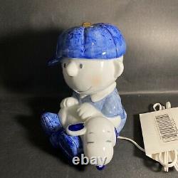 Vintage Peanuts UFS Baseball Charlie Brown & Snoopy Working Ceramic Lamp / BG