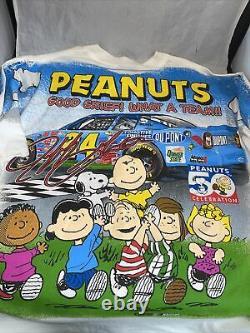 Vtg 90s Peanuts Charlie Brown Jeff Gordon T Shirt Nascar All Over Print With Bonus