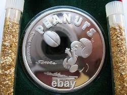 1 Oz. 999 Argent Peanuts Gang Charlie Brown Snoopy Football Receiver Coin+or