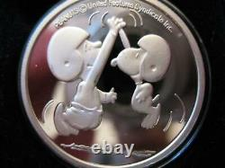 1 Oz. 999 Argent Peanuts Gang Charlie Brown Snoopy Hi Five Football Coin+or
