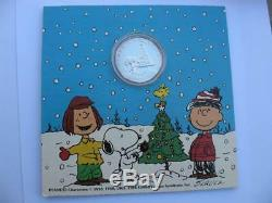 1-oz 999 Argent Noël Peanuts Gang Charlie Brown, Snoopy, Lucy, Pièce D'or +