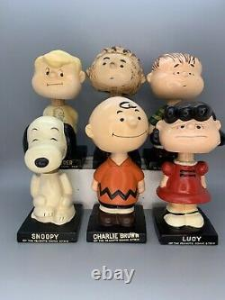 1960 Vintage Complete Set 6 Peanuts Gang Bobblehead Nodder Snoopy Charlie Brown