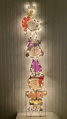 2-d Peanuts Snoopy Woodstock Lucy Charlie Brown Seasons Lighted Yard Decor