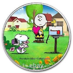 2021 États-unis Peanuts Charlie Brown & Snoopy Valentines! Pièce Couleur Argent