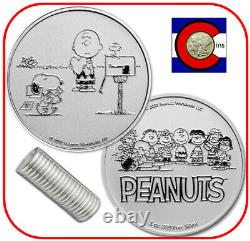 2021 Snoopy & Charlie Brown Valentine 1 Oz Silver Round Peanuts 20 Coin Roll