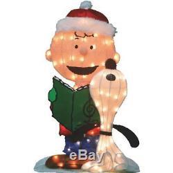 32 Lighted Caroling Charlie Brown Snoopy Vacances De Noël Lawn Figure 20209
