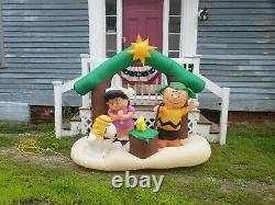 6 Ft Peans Scène De Nativité Airblown Yard Snoopy Charlie Brown Lucy