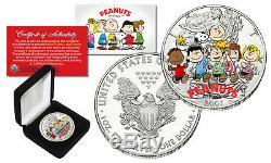 Arachides Charlie Brown Snoopy 1 Oz Pure 2002 U. S. Américain Silver Eagle Avec La Boîte