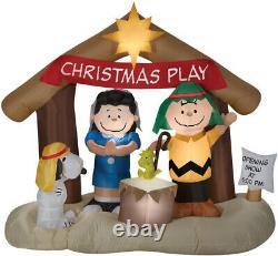 Arachides De Noël Snoopy Charlie Brown Nativity Scene 6 Ft Airblown Gonflable