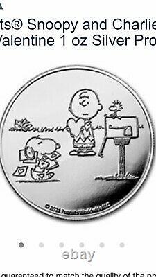 Arachides Snoopy Charlie Brown Valentine 1 Oz Proof Argent