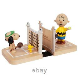 Bookends Peanuts Snoopy Charlie Brown Court De Tennis Hand Craft Sustain Bois