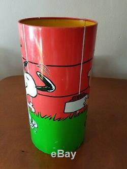 Cheinco Peanuts Charlie Brown Snoopy Woodstock Corbeille Corbeille 1965 Vtg