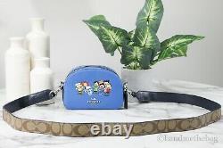 Coach X Peanuts Mini Serena Bleu Pebbled Cuir Snoopy & Friends Crossbody Sac