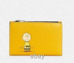 Coach X Peanuts Slim Bifold Card Wallet Avec Charlie Brown C4307 T.n.-o.