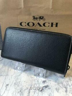 Coach X Peanuts Snoopy Black Leather Zip Long Wallet Snoopy Charlie Brown