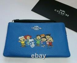 Coach X Peanuts Snoopy Charlie Brown & Gang Zip Top Wallet / Wristlet Vendu
