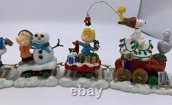 Danbury Mint Peanuts Fête De Noël Train 5 Pièces Snoopy Charlie Brown Coa