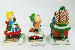 Danbury Mint Peanuts Train De Noël Sculpture 5 Piece Set Snoopy Charlie Brown