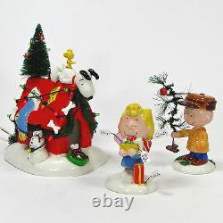 Département 56 Un Jeu Très Snoopy Christmas 3pc Allumé Charlie Brown Mib 59092