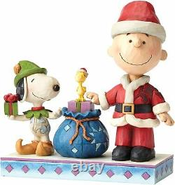 Jim Shore Peanuts Snoopy & Charlie Brown À Titre De Père Noël Retraité 4052721 Nouveau