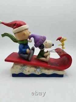 Jim Shore Snow Day Snoopy Charlie Brown Figurine De Noël W Boîte