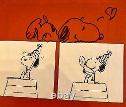 Joyeux Anniversaire Charlie Brown 1er Livre D'édition, Signé Avec Un Dessin De Snoopy