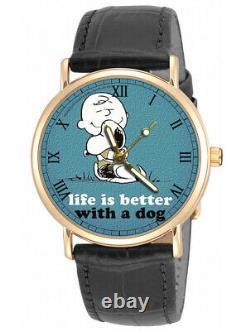 La Vie Est Meilleure Avec Un Chien! Snoopy Peanuts Charlie Brown Montre De Poignet Unisexe