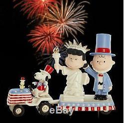 Lenox IL Indépendance Jour Snoopy Peanuts Nouveau Dans La Boîte Withcoa Charlie Brown Lucy