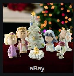Lenox Nativité Peanuts Charlie Brown Snoopy Noël Pageant Nouveau Dans La Boîte