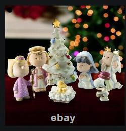 Lenox Nativity Peanuts Christmas Pageant 7pc Snoopy Charlie Brown Nouveau Dans La Boîte