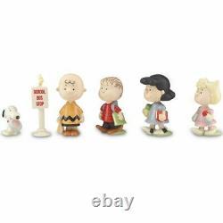 Lenox Peanuts 6 Pc Set Back To School Figures Charlie Brown Snoopy Lucy Nib/coa