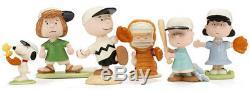 Lenox Peanuts Baseball Team 6 Piece Figurine Set Charlie Brown Snoopy & Gang New