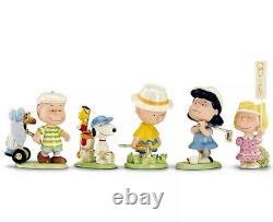 Lenox Peanuts Golf Team 5 Piece Figurine Set Charlie Brown Snoopy & Pals Nouveau