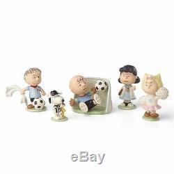 Lenox Peanuts Soccer 5 Pièces Figurine Set Snoopy Charlie Brown Nouveau Pdsf 250 $
