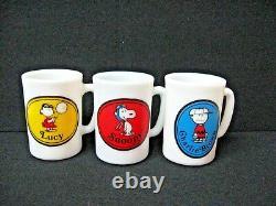 Lot 3 Vintage Verre De Lait Avon Bouteilles Snoopy Lucy Charlie Brown 1969 Boîtes Label