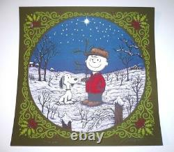 Marq Spusta Sérigraphie A Charlie Brown Christmas Green Ed. Oiseaux Snoopy Mint