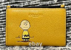 Nouveau Coach X Peanuts Slim Bifold Card Wallet Avec Charlie Brown C4307 Ochre T.n.-o.