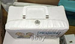 Peanuts 1973 Blanc Vinyle Lunchbox Snoopy Charlie Brown Baseball Linus Vintage