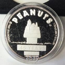 Peanuts 45 Years Snoopy Charlie Brown 999 Silver 3 Oz Medal Set 1995 Case Bl826