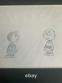 Peanuts Charlie Brown & Linus Snoopy Production Animation Cel Drawing Tv Coa